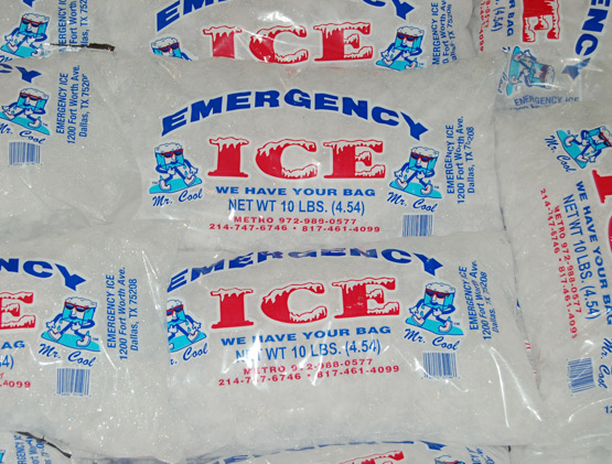 Bagged ice in bulk