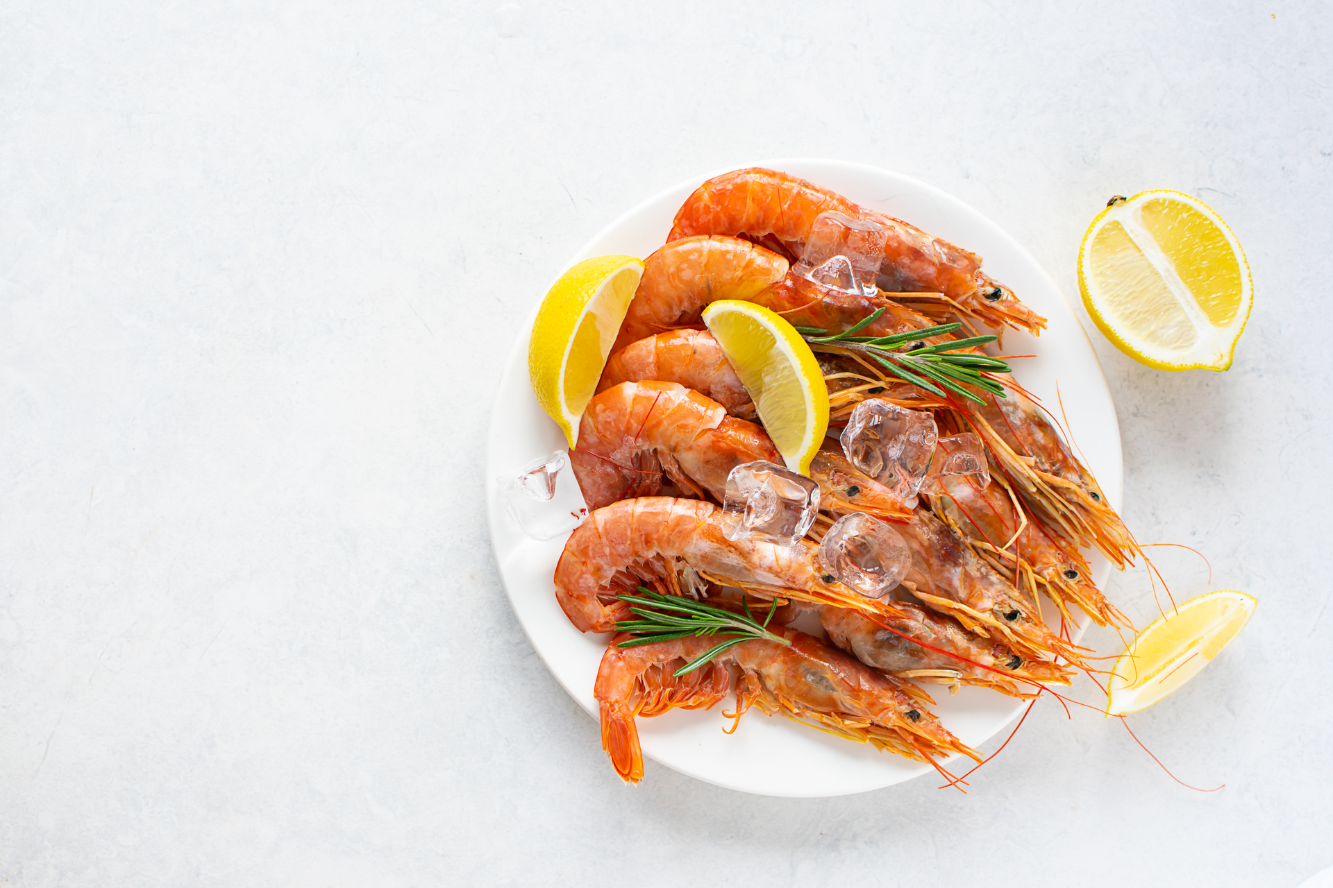 Fresh tiger shrimps or prawns with lemon, herbs and ice on white marble table top view.